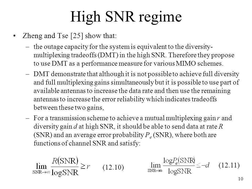 High SNR regime Zheng and Tse [25] show that:
